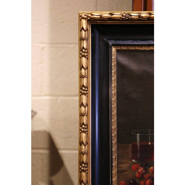 19th Century French Signed Oil on Canvas Painting in Carved Gilt Frame For Sale - Image 4 of 11