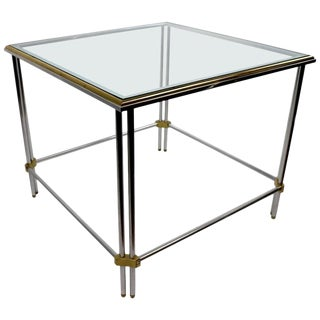 Square Aluminum Brass and Glass Table by John Vesey Inc. For Sale