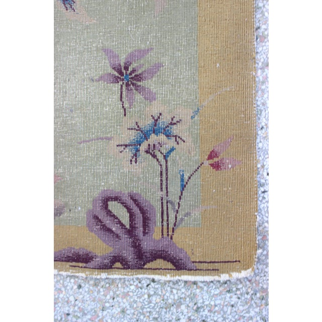Antique 1924 Nichols Wool Rug Tientsin North China Flowers Motif For Sale - Image 4 of 10