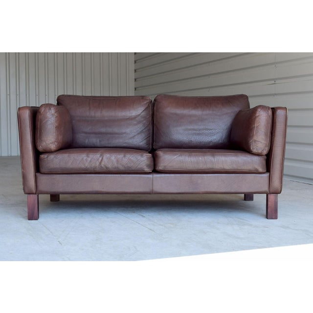 Vintage Danish Leather Loveseat - Image 3 of 4