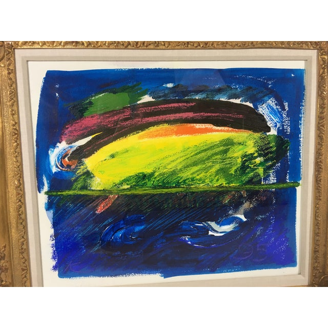 This is a late 20th century abstract acrylic on paper. This painting is artist signed, circa 1995. The brilliant colors...