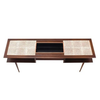 Two-Tier Walnut Sofa Table with Tile Top and Planter For Sale