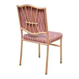 Shelby Williams Faux Bamboo Pink Rose Gold Upholstered Banquet Dining Chairs For Sale