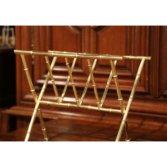 Mid 20th Century Mid-20th Century French Maison Baguès Bamboo Brass Magazine Rack For Sale - Image 5 of 7