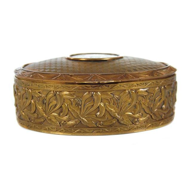 "Art Nouveau 19th C. Bronze & Enamel 5"" Oval Jewelry Box For Sale - Image 3 of 9"