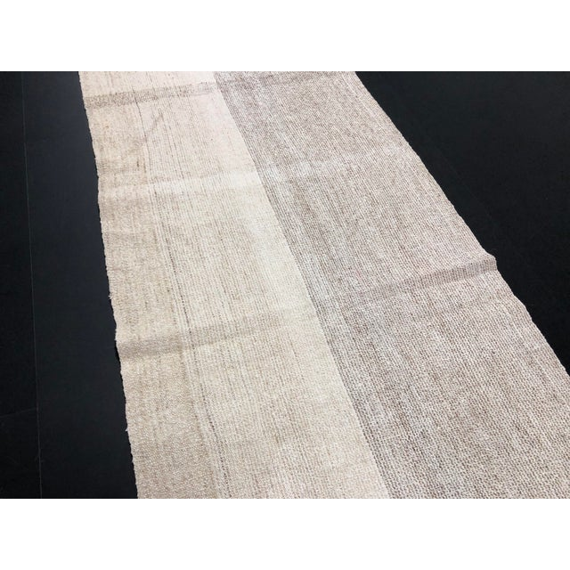 White 1960s Vintage Turkish Aztec Style Natural Wool Runner Rug - 2′5″ × 8′6″ For Sale - Image 8 of 11