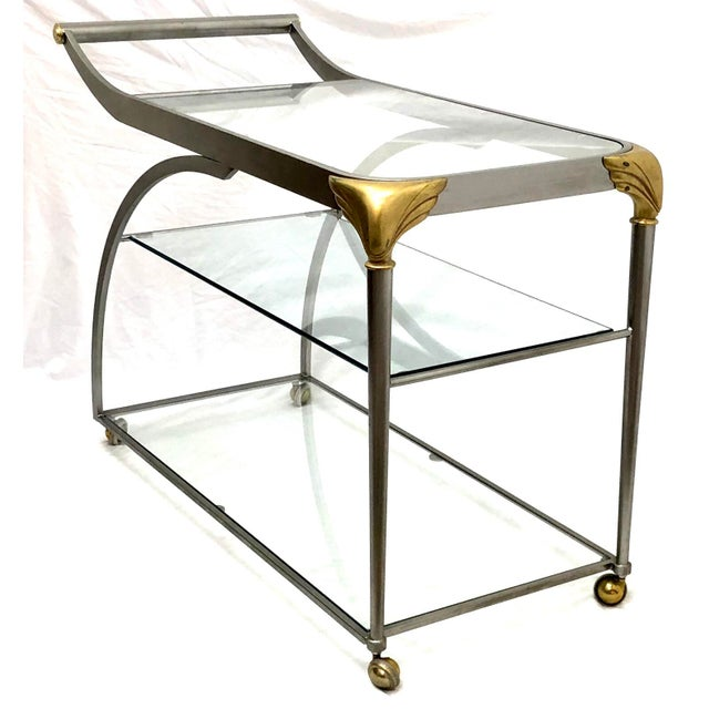 Late 20th Century 20th Century Hollywood Regency Steamline Bar Cart For Sale - Image 5 of 12