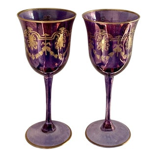 1980s Vintage Murano Gilt Amethyst Wine Glasses - a Pair For Sale