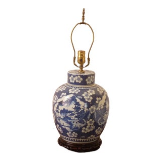 Chinese Blue & White Floral and Mountain Home Porcelain Lamp For Sale