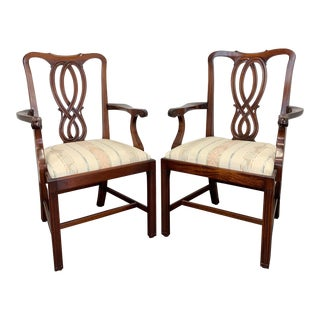 Bevan Funnell Reprodux Mahogany Georgian Straight Leg Dining Captain's Armchairs For Sale
