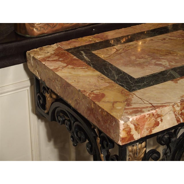 Iron 1920's French Forged Iron and Marble Console Table For Sale - Image 7 of 13