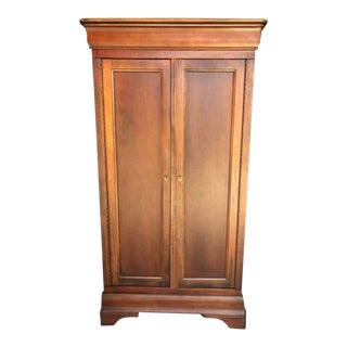 1990s Vintage Cherry Armoire Entertainment Cabinet For Sale
