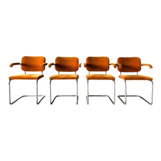 Orange Mohair and Chrome Knoll Chairs. For Sale