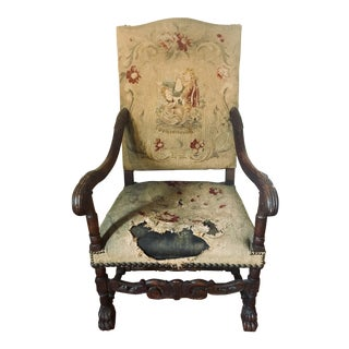 Antique Oak Tapestry Arm Chair For Sale