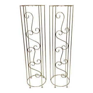 Hollywood Regency Monumental Brass Columns - Pair