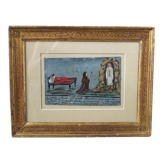 Late 19th Century Antique Mexican Retablo on Tin Painting