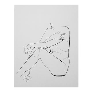 'Muse' Original Line Drawing on Paper For Sale