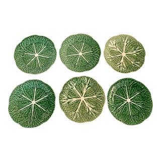 Bordallo Pinheiro Green Cabbage Plates - Set of 6 For Sale