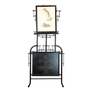 Victorian-Era Ebonized Easel with Folio For Sale