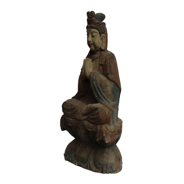 2000 - 2009 Handcrafted Chinese Distressed Finish Wood Bodhisattva Statue For Sale - Image 5 of 7