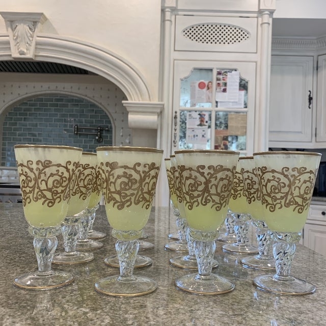Art Deco Hand-Blown Murano Chartreuse/Yellow Ombré Wine Glass Goblets - 4 Sets of 4 For Sale - Image 3 of 11