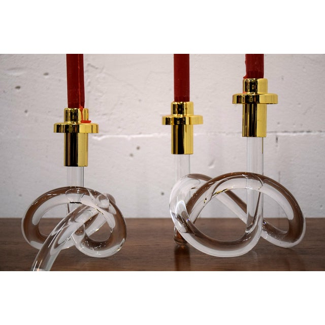 1940s Gold and Lucite Candlestick Holders by Dorothy Thorpe 1940 For Sale - Image 5 of 11