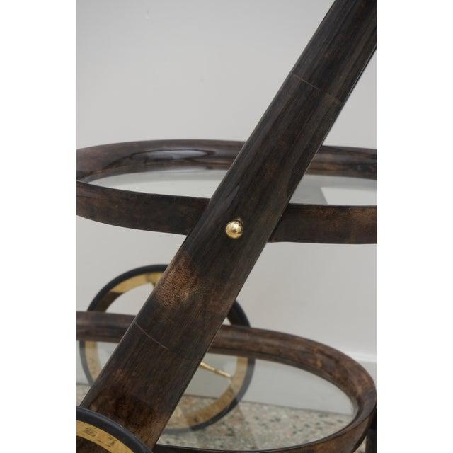 Aldo Tura Mid-Century Modern Goat Skin Bar Cart by Aldo Tura For Sale - Image 4 of 9