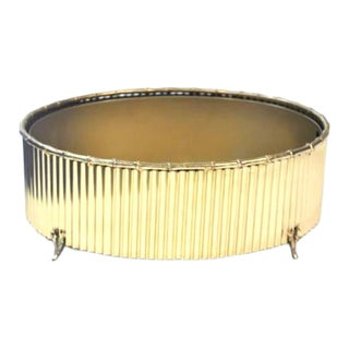 Solid Brass Corrugated Bamboo Cachepot For Sale
