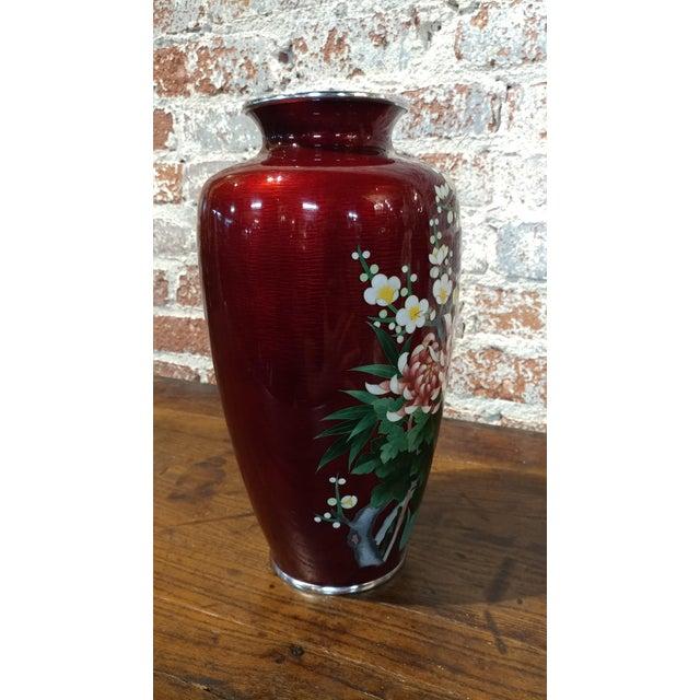 Vintage Japanese Beautiful Red Cloisonné Flower Vase ...