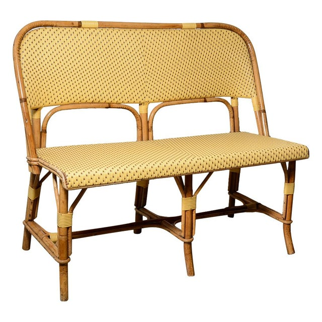 1970s Vintage French Maison Gatti Rattan and Bamboo Banquette Settee For Sale - Image 13 of 13