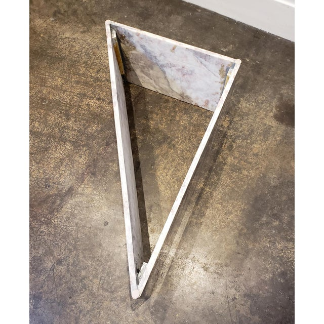 1970s Triangular White Marble Italian Coffee Table For Sale - Image 9 of 11