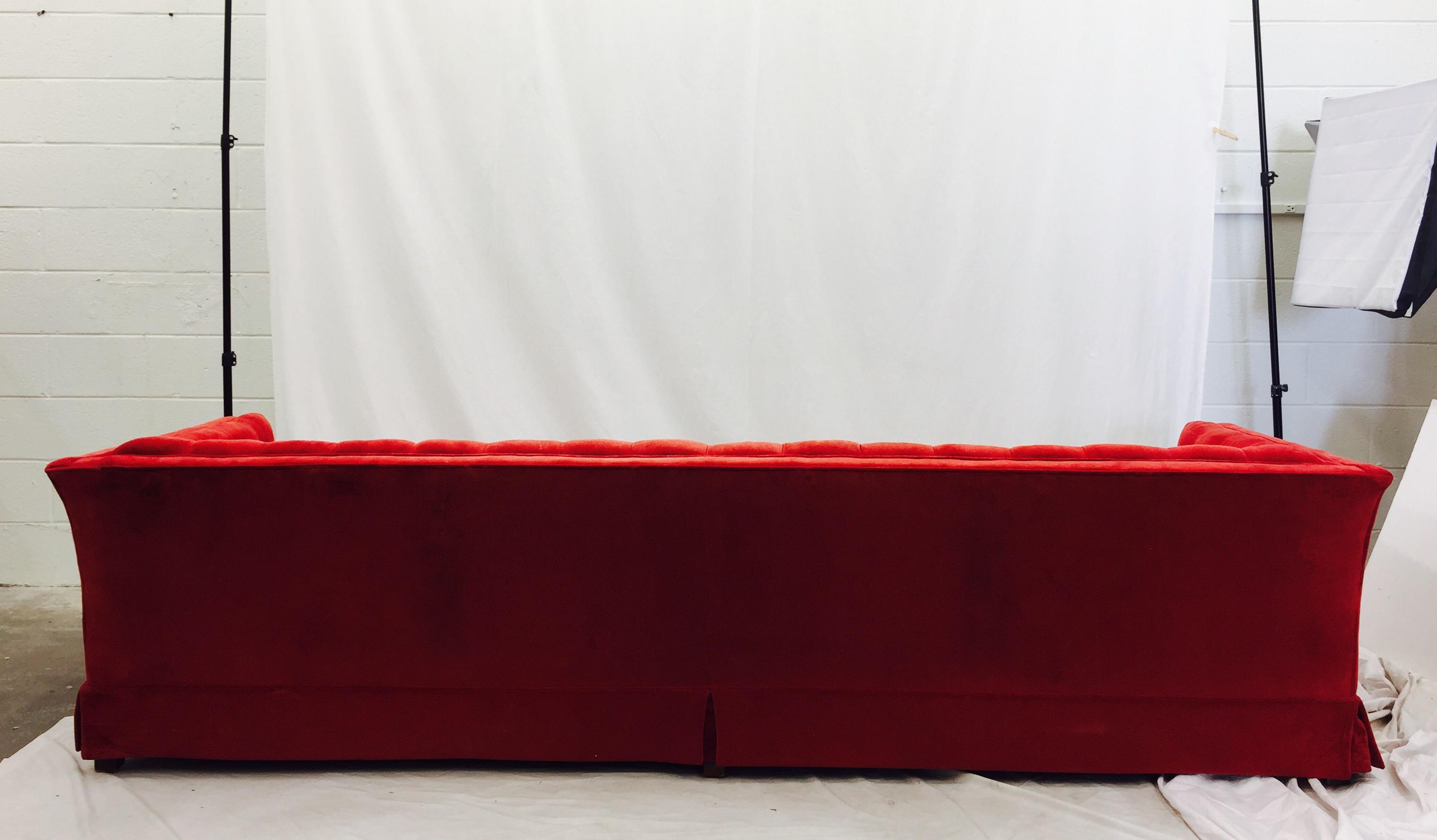 Vintage Red Velvet Tufted Chesterfield Sofa   Image 7 Of 10