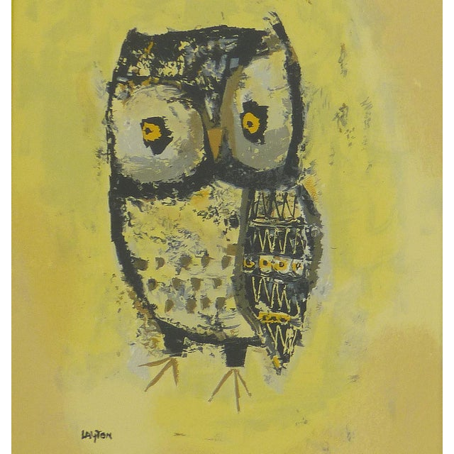 Mid-Century Owl Paintings - A Pair - Image 4 of 10