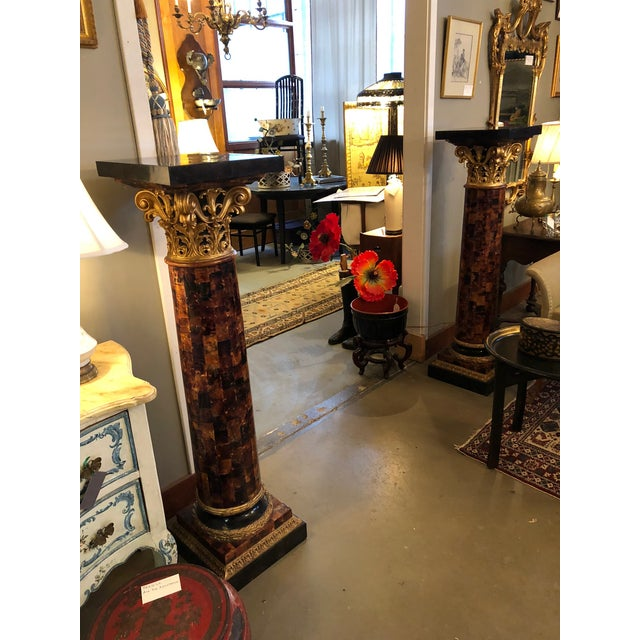 Louis XV 1900s Louis XV Gilt Corinthian and Verified Tortoise Shell Pedestals - a Pair For Sale - Image 3 of 11