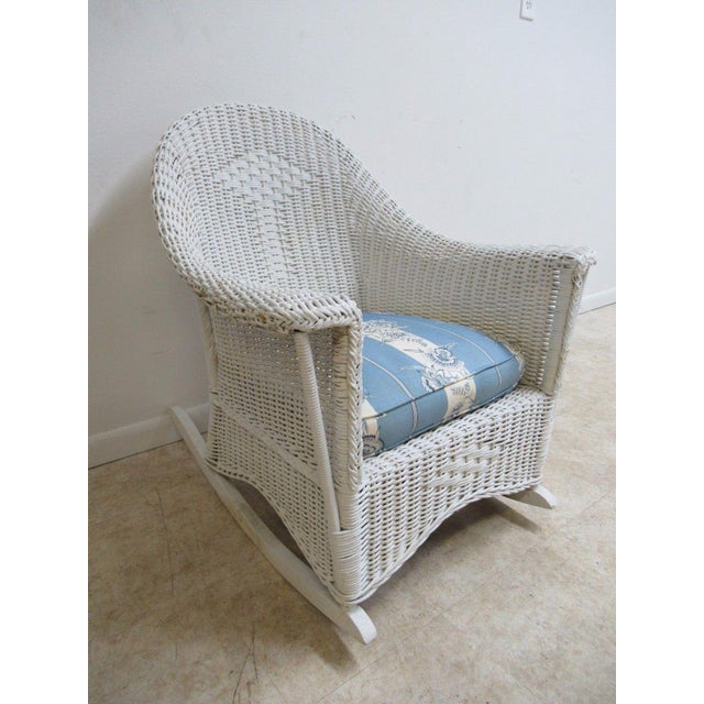 Antique Wicker Outdoor Patio Rocking Chair - Image 3 of 7