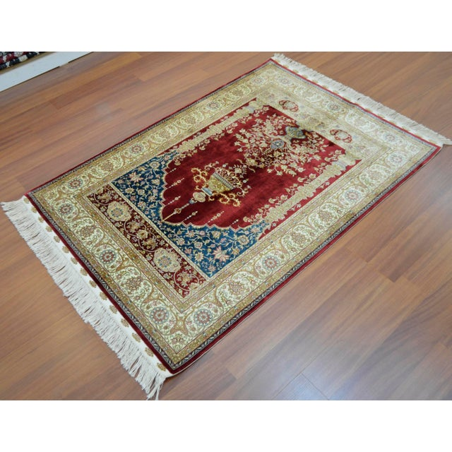 Hand Knotted Turkish Silk Rug - 3′1″ × 4′5″ - Image 5 of 9