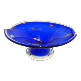 Murano Millefiori Glass Pedestal Dish in Cobalt Blue