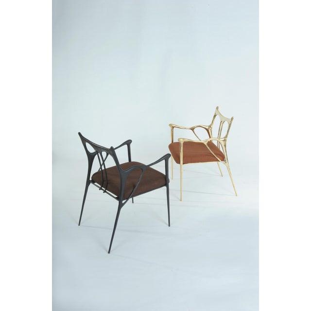 Misaya Black Brass Sculpted Brass Chair, Misaya For Sale - Image 4 of 8
