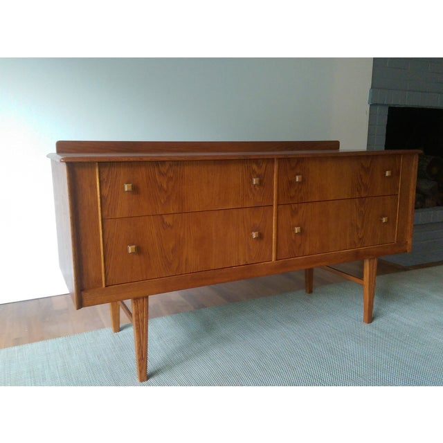 Oak Credenza with Custom Square Pulls - Image 3 of 10
