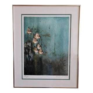 Green Fish by Kaiko Moti Limited Edition Lithograph For Sale