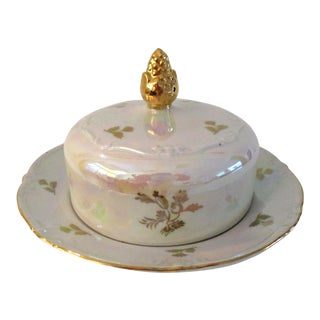 Mid-Century German White Lusterware Butter/Cheese Dish For Sale