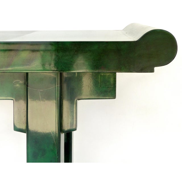 Wood Over-Scale Green Goatskin Stylized Altar Table Style Console Table For Sale - Image 7 of 9