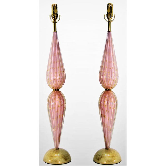 Murano Glass Lamps by Alfredo Barbini -A Pair-Pink & Gold- Restored - Italy Italian Venetian Mid Century Modern Hollywood Regency Palm Beach Boho Chic For Sale - Image 9 of 9