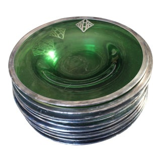 Silver Embossed Green Depression Glass 10Serving Plate Bowls - Set of 10 For Sale