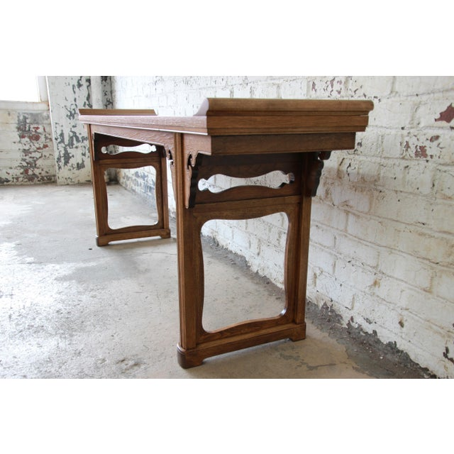 Beautiful Burled Altar Table by Baker For Sale In South Bend - Image 6 of 11