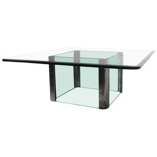 Pace Collection Chrome & Glass Square Coffee Table For Sale