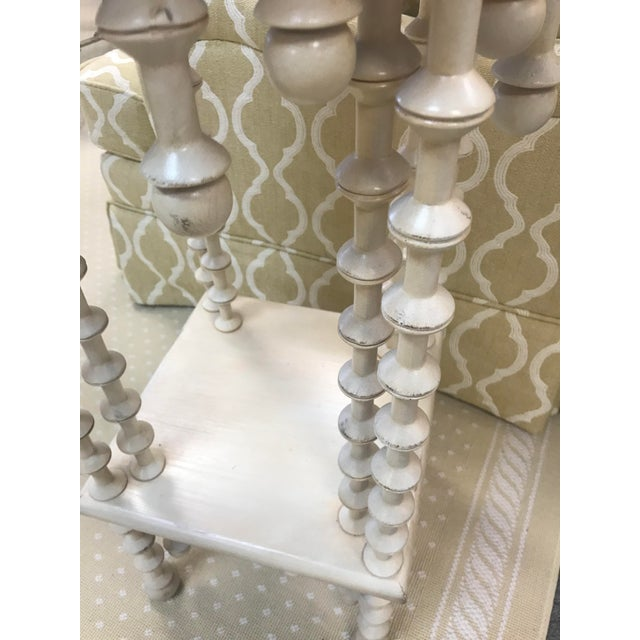 Boho Chic Spindle Legs & Accents Two Tier Side Table For Sale - Image 4 of 7