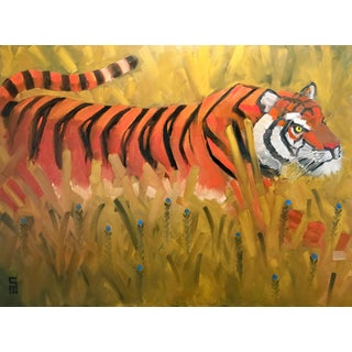 Stephen McDonough Contemporary Tiger in Tall Grass Oil Painting For Sale
