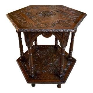 19th Century French Carved Oak Center Side Table Hexagon Two Tier Shelf For Sale