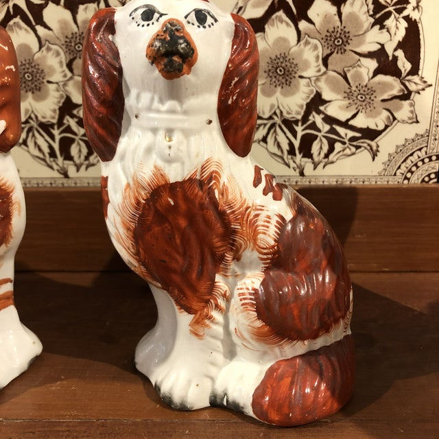Ceramic Antique Staffordshire Dog Figurines - a Pair For Sale - Image 7 of 8